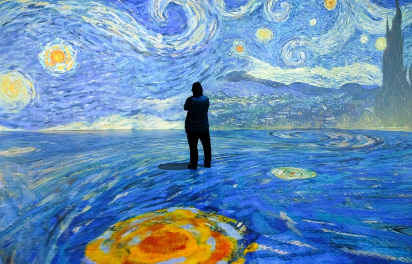 """A shot of Vincent Van Gogh's """"The Starry Night"""" in the """"Beyond Van Gogh: The Immersive Experience."""""""
