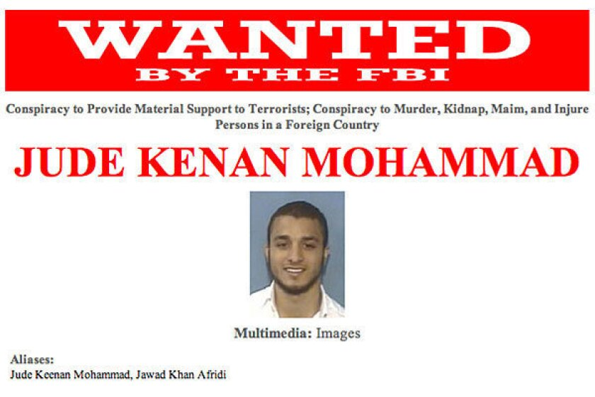 A wanted poster for Jude Kenan Mohammad, an American citizen killed in a U.S. drone strike in Pakistan.
