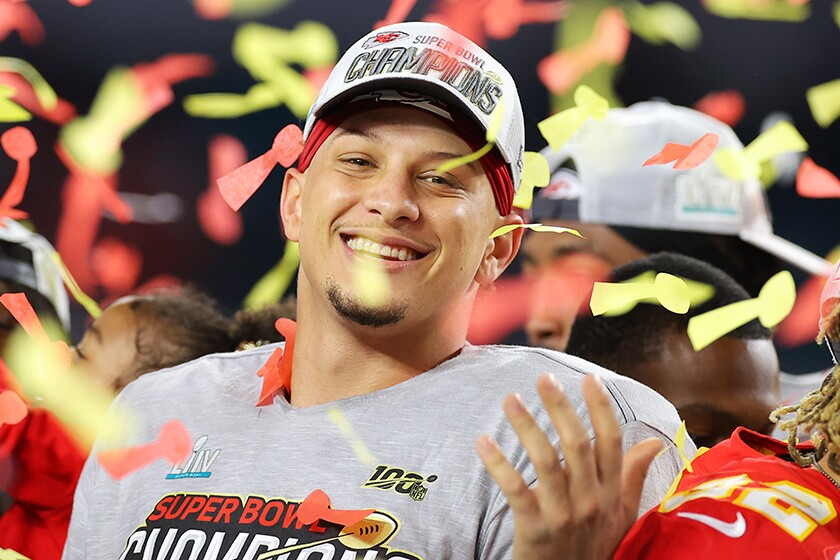 Kansas City Chiefs quarterback Patrick Mahomes celebrates a Super Bowl victory on Sunday over the San Francisco 49ers.