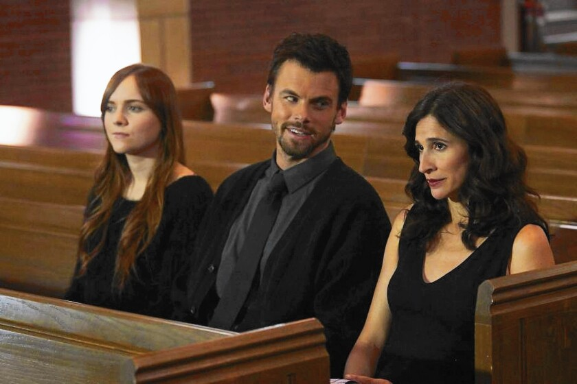 "Tara Lynne Barr, left, Tommy Dewey and Michaela Watkins star in the Jason Reitman-directed ""Casual"" on Hulu."