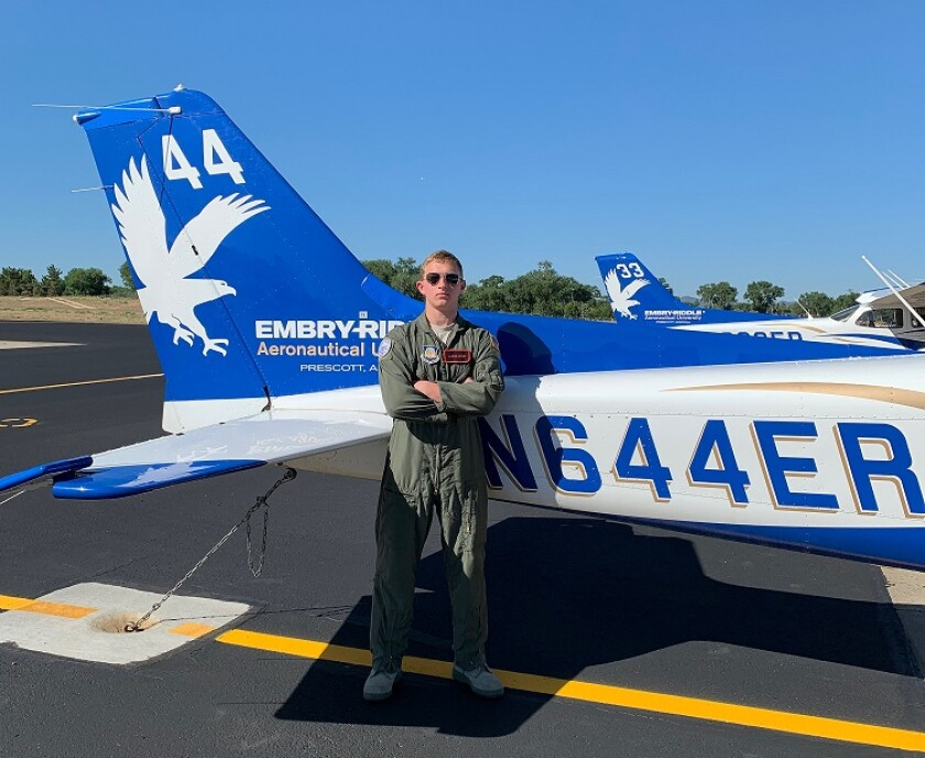 Vista High School Air Force JROTC Cadet Jacob Birst was one of 150 cadets nationwide who received a scholarship from the Air Force Scholarship Program and earned his pilot's license.