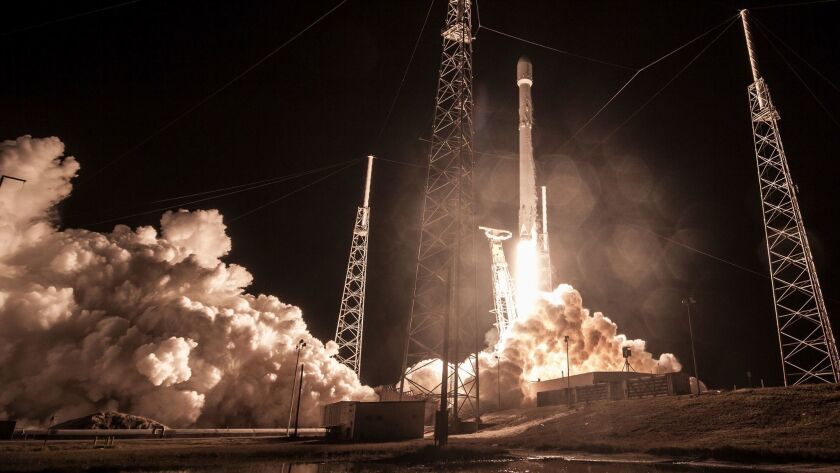 This Sunday, Jan. 7, 2019 photo made available by SpaceX shows the launch of the Falcon 9 rocket at