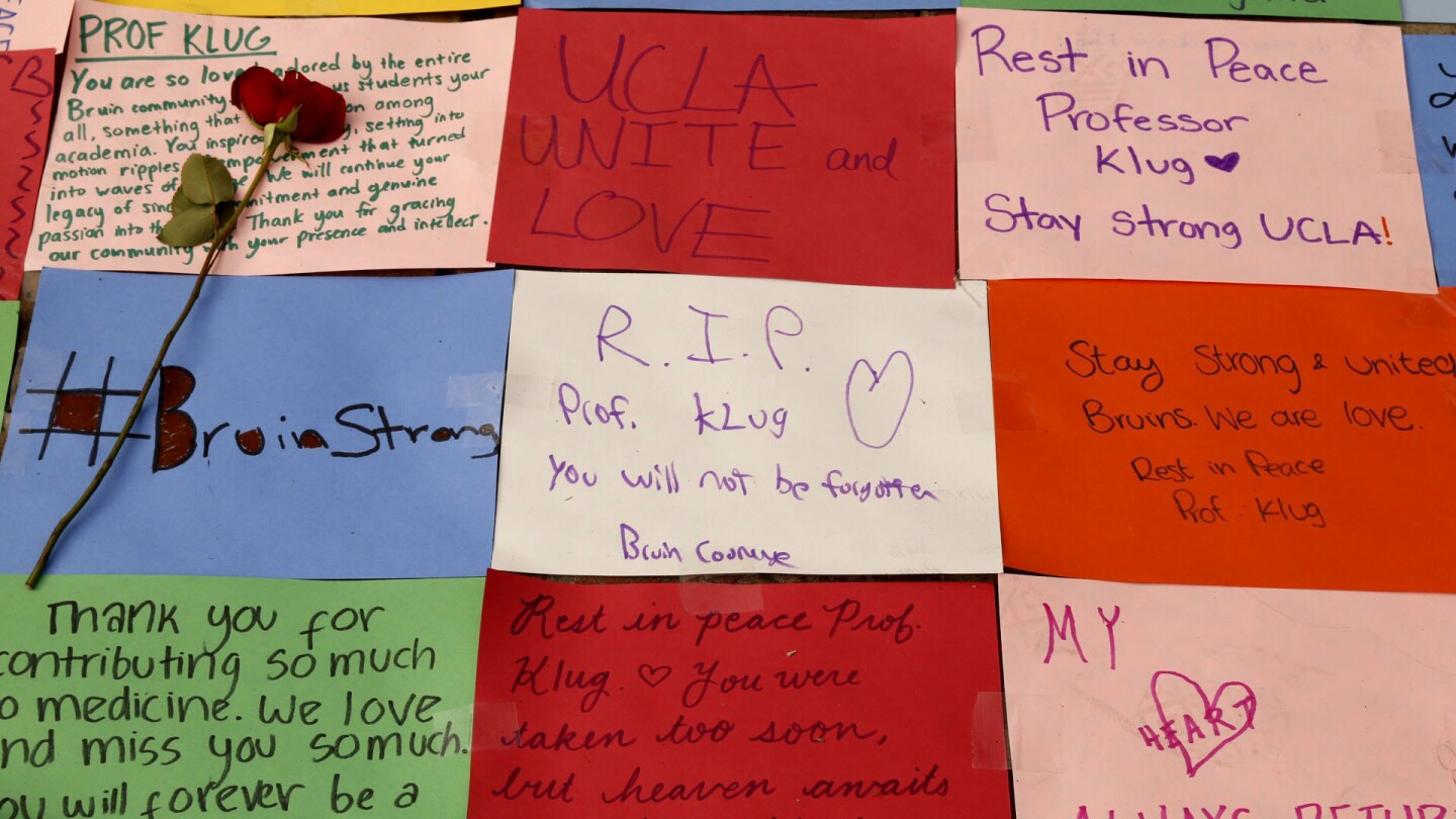 """A memorial left at """"The Bruin"""" on the UCLA campus Friday morning."""