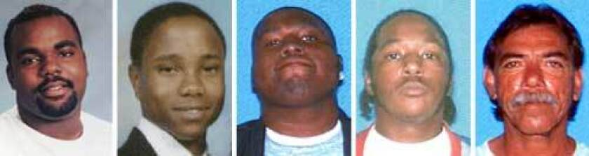 Inglewood police officers have shot and killed five unarmed suspects since 2003. One suspect, Eddie Felix Franco, (far right, shot Aug. 31, 2008) was carrying a realistic-looking toy gun. The others (from left): Jule Dexter III, age 27, June 6, 2005; Richard Ray Tyson, age 20, May 9, 2007; Michael Byoune, age 19, May 11, 2008, and Ruben Ortega, age 23, July 1, 2008.