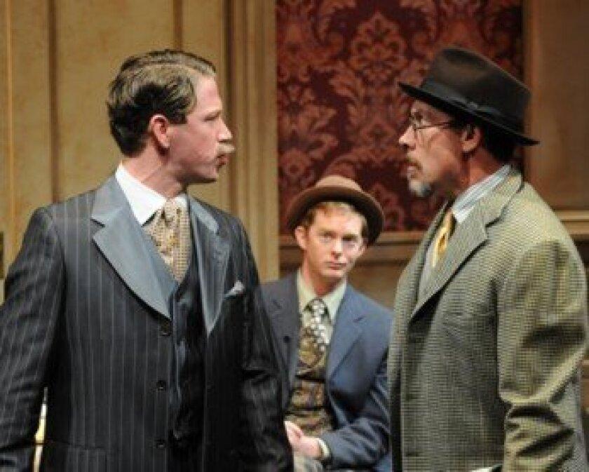 Carr (Jordan Miller), Tristan (Brian Mackey) and Joyce (Patrick McBride) squabble in Tom Stoppard's 'Travesties.'