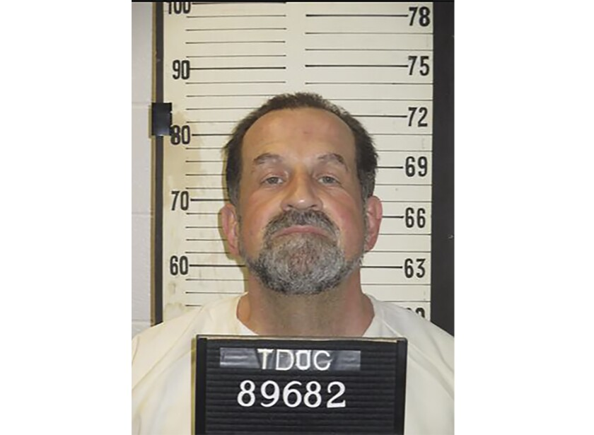 This photo provided by Tennessee Department of Correction shows Nicholas Sutton. Attorneys for Sutton, a Tennessee death row inmate, say he should be spared from execution because he has transformed himself from a killer to a lifesaver while in prison. Sutton was sentenced to death in 1985 for the murder of fellow inmate Carl Estep. In a Tuesday, Jan. 14, 2020 petition to Gov. Bill Lee, Sutton's attorneys say he saved the lives of numerous prison employees and fellow inmates. He is scheduled to be executed on Feb. 20.(Tennessee Department of Correction via AP)