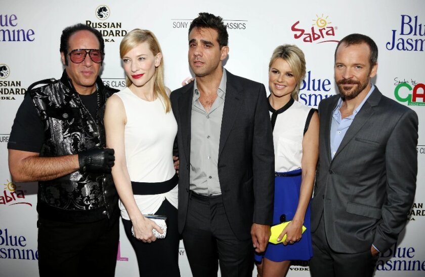 """""""Blue Jasmine"""" cast members Andrew Dice Clay, left, Cate Blanchett, Bobby Cannavale, Ali Fedotowsky and Peter Sarsgaard pose together at the Los Angeles premiere of the Woody Allen movie."""