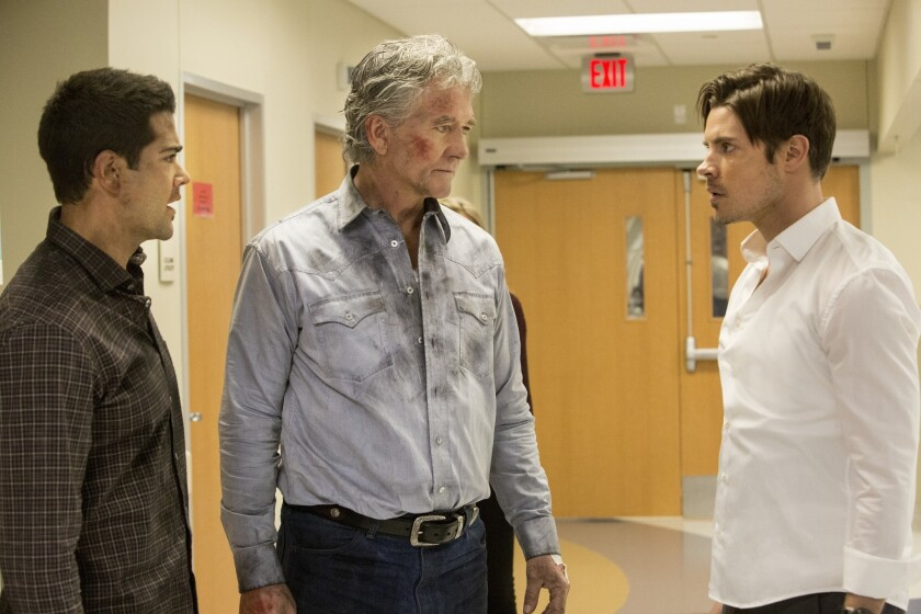 """Josh Henderson, from left, Patrick Duffy and Jesse Metcalfe in """"Dallas,"""" which has been canceled."""