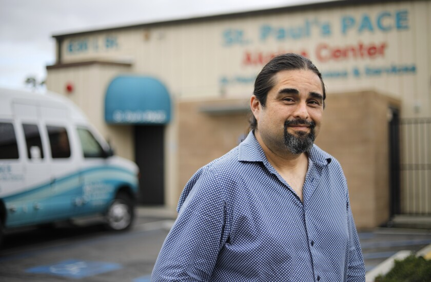 Hector Castillo is a social worker for Saint Paul's PACE in Chula Vista, where he delivers food to poor, elderly and disabled folks.