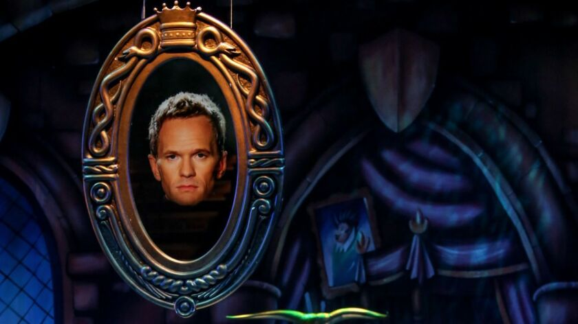 "Neil Patrick Harris portrays the on-screen Magic Mirror in ""A Snow White Christmas."""