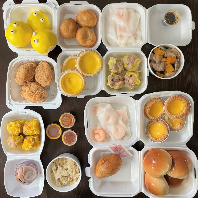 A combination of dim sum offerings from Giai Phat Food. Co. and Dim Sum Food Co., both found in Westminster.