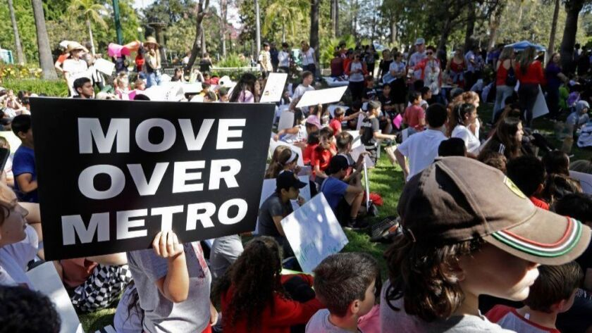 Students from Beverly Hills schools rally at Will Rogers Memorial Park on Oct. 12 to voice their opposition to the Purple Line route under Beverly Hills High School.