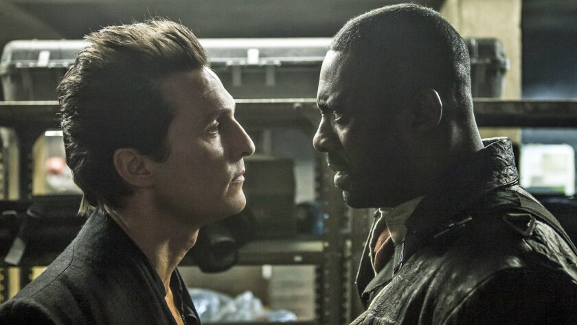 "Matthew McConaughey, left, and Idris Elba in ""The Dark Tower."""