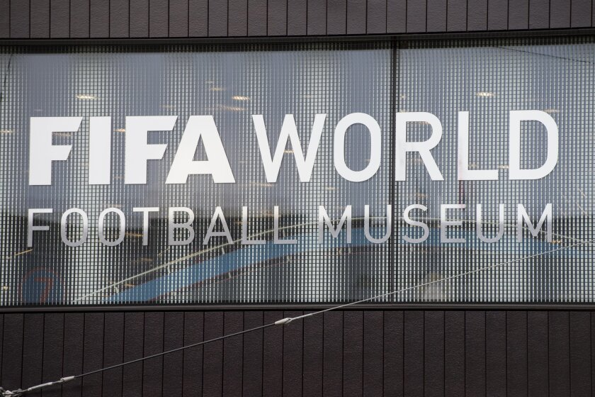 The logo of the FIFA World Football Museum is pictured during the preview of the FIFA World Football Museum in Zurich, Switzerland, Wednesday, Feb. 24, 2016. The new FIFA museum will open its doors on Sunday. (Ennio Leanza/Keystone via AP)