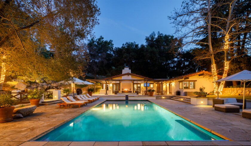 The hideaway has a Spanish-style mansion, guesthouse, pool house, gate house and meditation house spread over five acres.