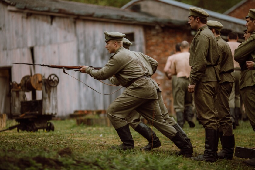 """Soldiers train in World War I Latvia in the movie """"Blizzard of Souls."""""""