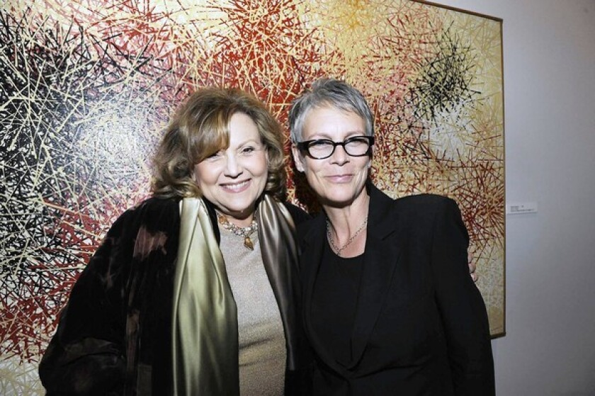 """Actresses Brenda Vaccaro and Jamie Lee Curtis attend the opening-night party for """"Diavolo"""" at the Broad Stage."""
