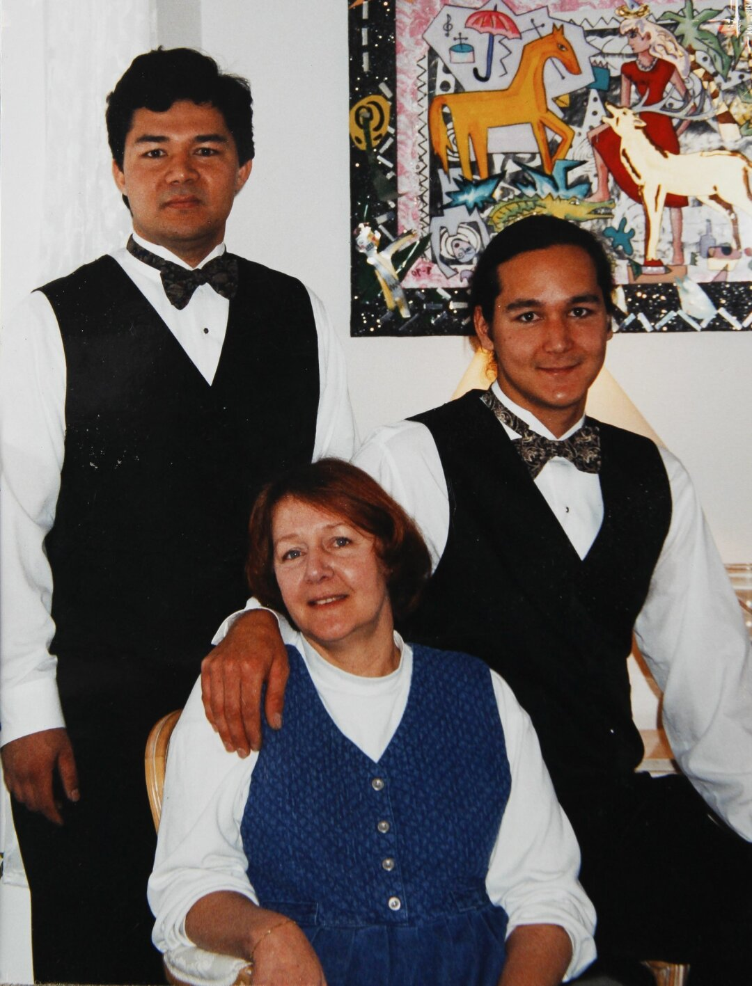 A picture, taken during a cousin's wedding, of Rochelle Nishimoto and her sons Jason Nishimoto, left, and Adrian Nishimoto.