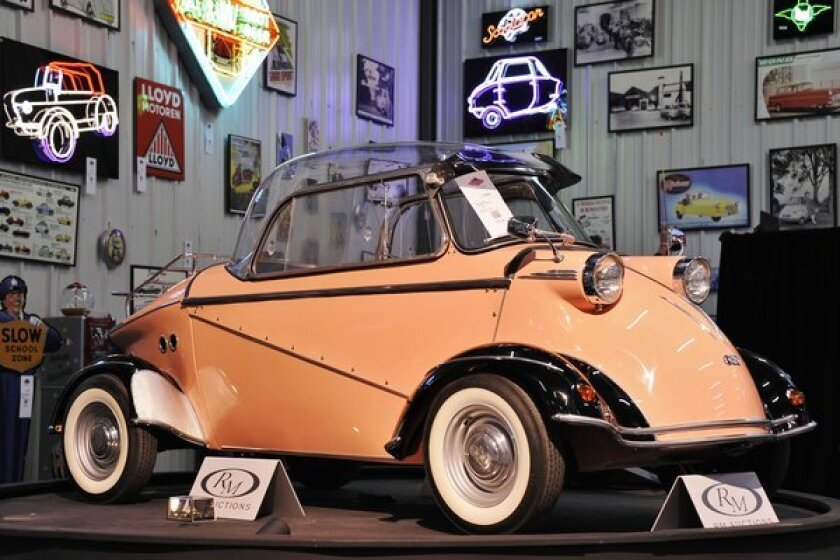 """This 1958 F.M.R. Tg 500 """"Tiger"""" microcar sold for a record $322,000 at a weekend auction hosted by RM Auctions. The price, which includes commission, is the most paid at any auction for a microcar."""