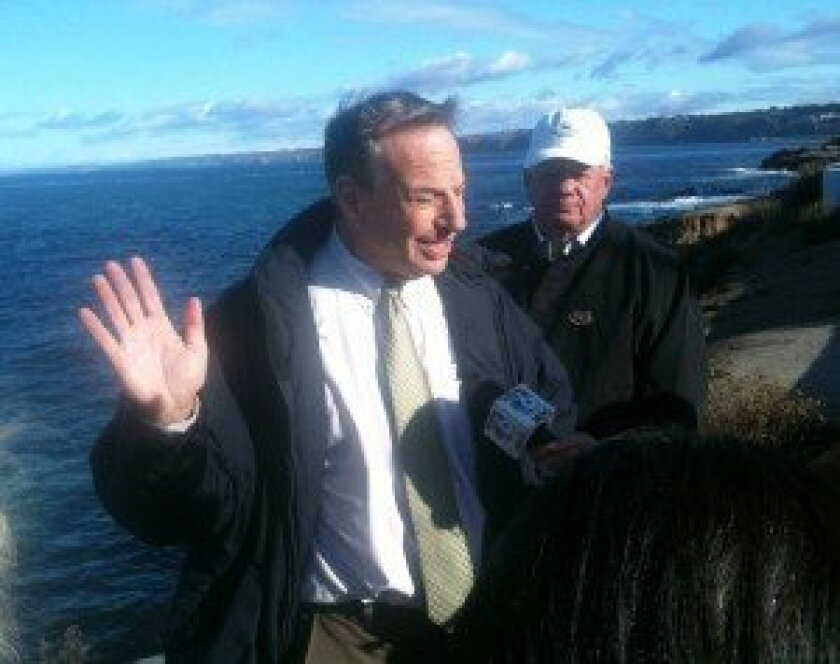 Mayor Bob Filner wades into the seal controversy at La Jolla Children's Pool shortly after taking office in December. File