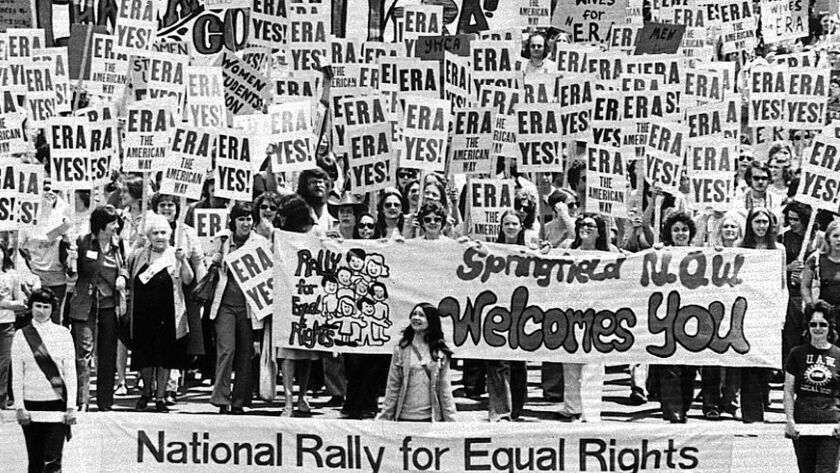 An estimated 10,000 demonstrators march to the Capitol building in Springfield, Ill., to support the passage of the Equal Rights Amendment in May 1976.