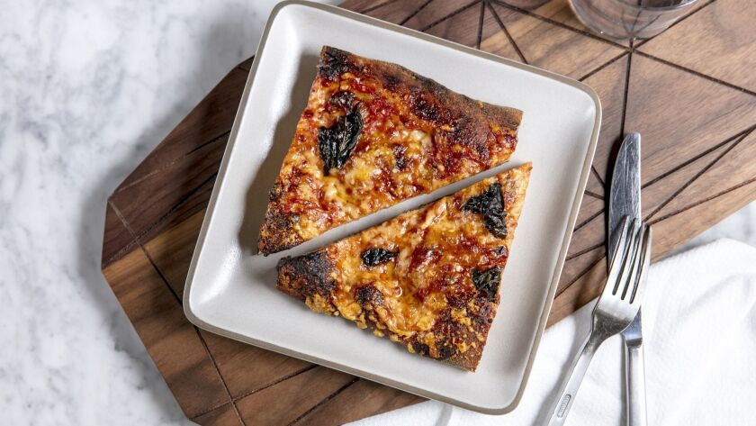 LOS ANGELES, CALIFORNIA - May 22, 2019: Bianco DiNapoli Flatbread at The Market on Wednesday, May 2
