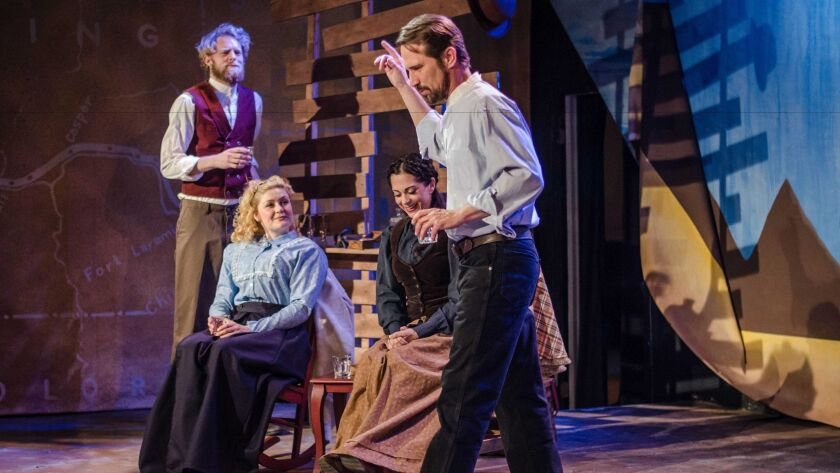 """Brian Mackey, Jacque Wilke, Jessica John and Francis Gercke in Backyard Renaissance Theatre's production of """"Abundance,"""" now playing at Moxie Theatre in Rolando."""