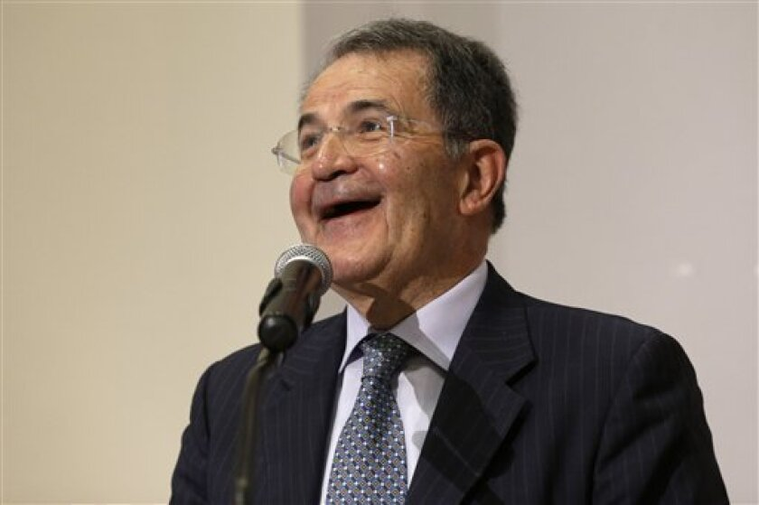 In this photo taken on April 16, 2013 Romano Prodi smiles as he gives a Lectio-Magistralis at the Pontificia Universita' Angelicum in Rome. Italy's Parliament has opened a third round of voting for the nation's president after two inconclusive votes a day earlier. In a bid to change the dynamic during Friday's voting, the center-left leader proposed former Premier Romano Prodi for the post. However, Silvio Berlusconi's center-right has already signaled its opposition to the man who twice beat Be