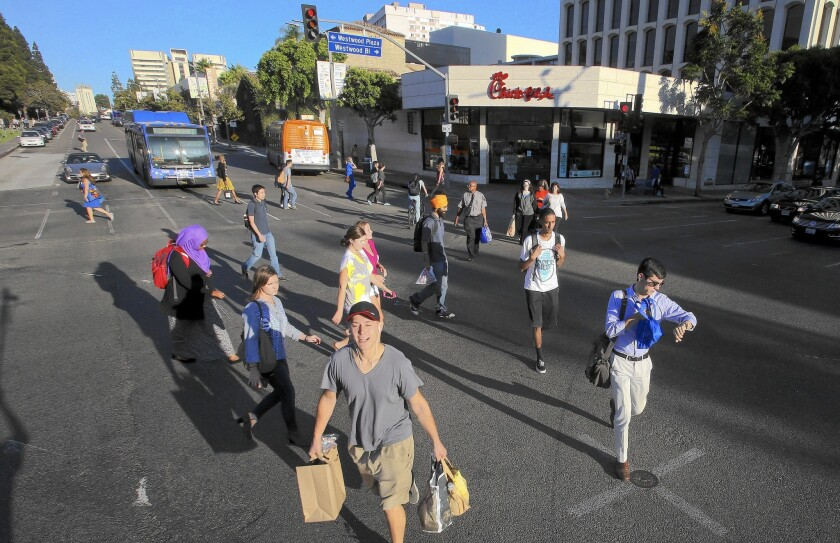 Is L.A. ready for diagonal crosswalks? Mayor Eric Garcetti is considering a controversial initiative.