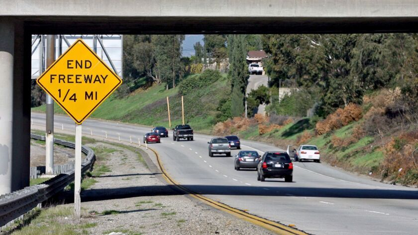 The 710 Freeway ends at Valley Blvd. in Alhambra, on Thursday, January 28, 2010. (Raul Roa/News,ƒoeP