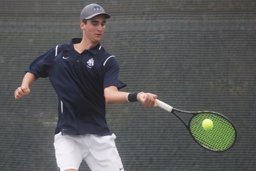 Newport Harbor High's Max McKennon rallies during the singles semifinals of the CIF Southern Section