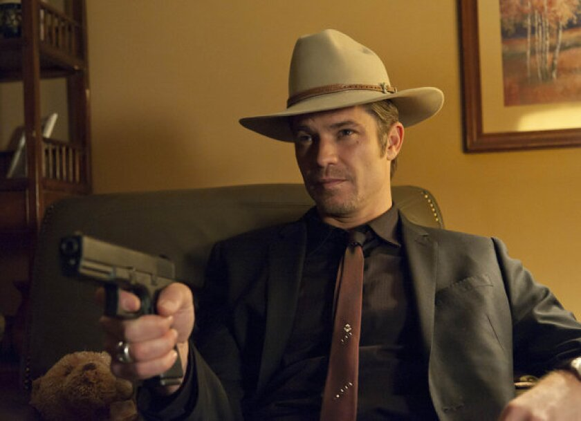 """Timothy Olyphant, here as Deputy U.S. Marshal Raylan Givens in FX's """"Justified,"""" will guest-star on """"The Mindy Project"""" as a skateboarder."""