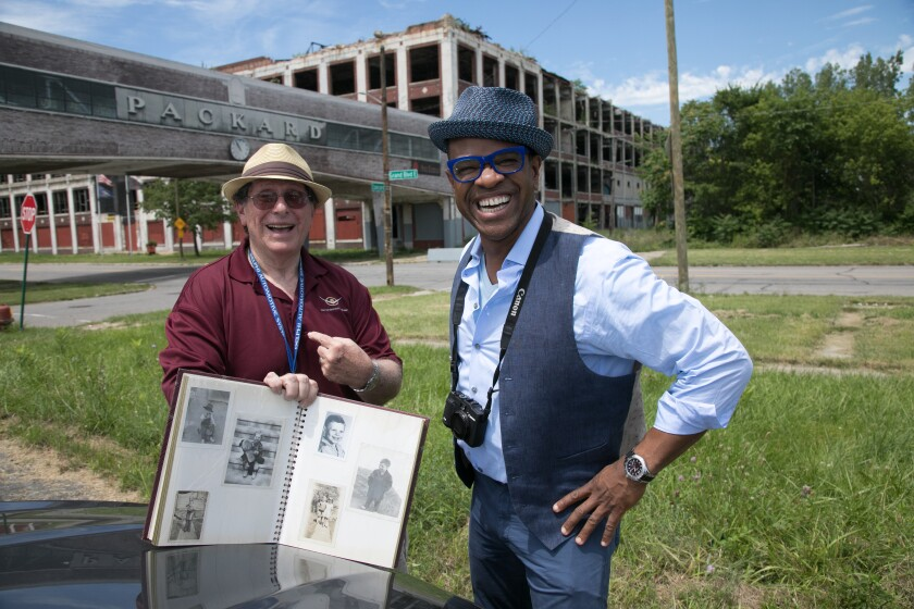 "Filmmaker Thomas Allen Harris, right, visits the former site of the Packard Plant in Detroit with Arthur Kirsh to share insights from his family photo album for PBS series ""Family Photos USA."""