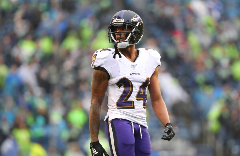 Ravens cornerback Marcus Peters, who was traded to Baltimore by the Rams on Oct. 15, is set to become a free agent in the offseason.