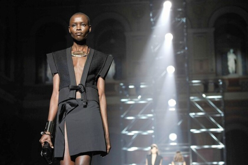 A model walks the runway during the Lanvin spring/summer 2013 show as part of Paris Fashion Week.