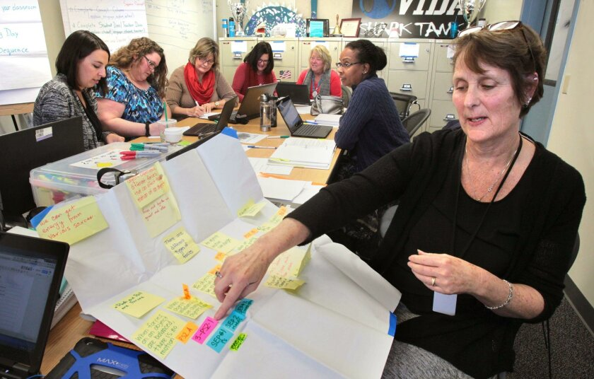 February 3, 2016, Vista, California, USA_| The Vista Unified School District's Sue Ritchey, at right, Project Director of the Next Generation Science Standards Early Implementation Initiative, works with a conceptual flow chart of committee member's ideas written on Post-its. The ideas here are to