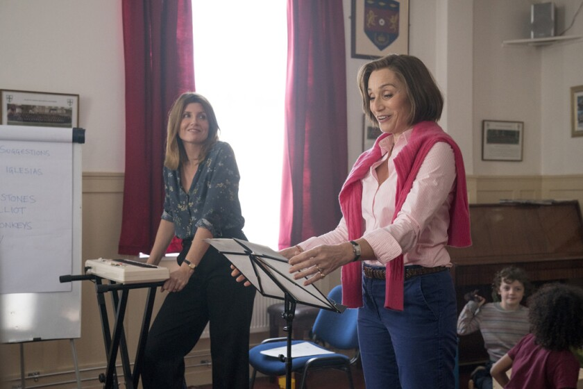 Sharon Horgan, left, and Kristin Scott Thomas in the movie 'Military Wives'