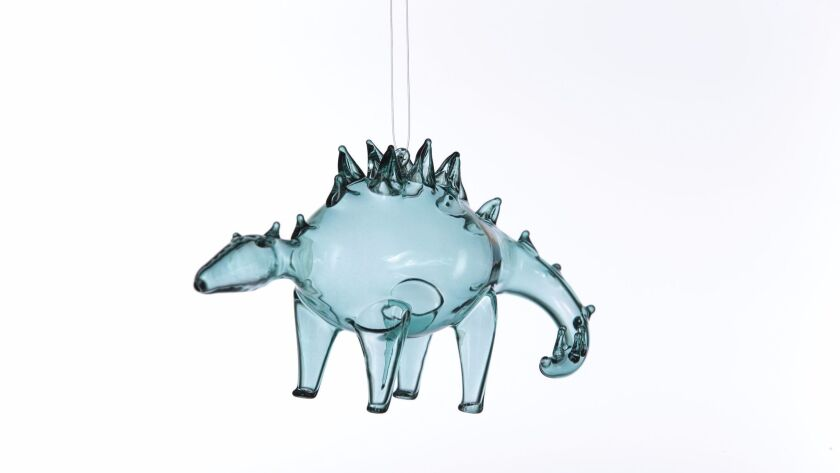 LOS ANGELES, CA., NOVEMBER 17, 2017--Christmas Ornaments for 2017 - GLASS STEGOSAURUS - Do you remem