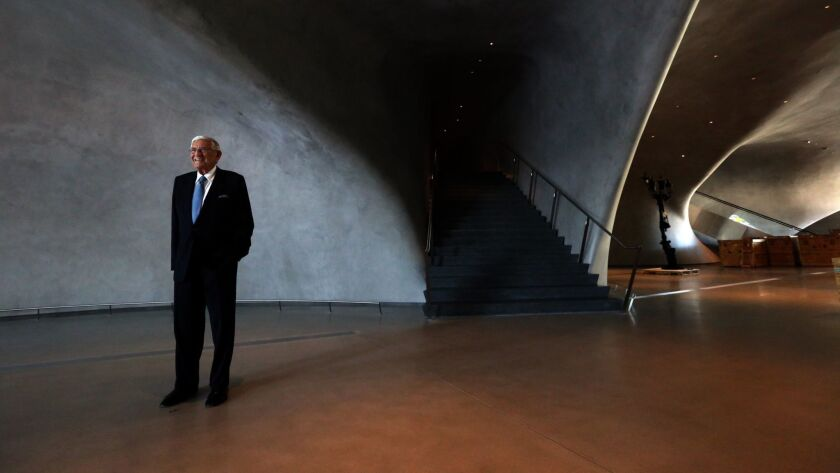 LOS ANGELES, CA - AUGUST 17, 2015 -- Eli Broad stands inside The Broad, a new contemporary art museu