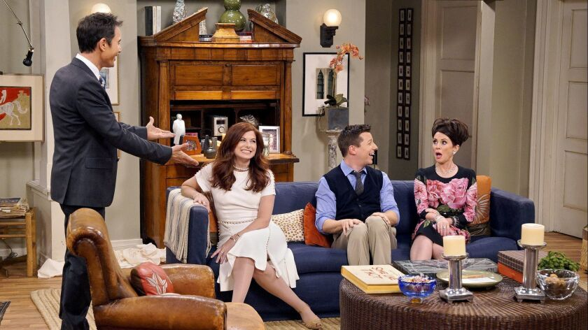 This image released by NBC shows, from left, Eric McCormack, Debra Messing, Sean Hayes and Megan Mul