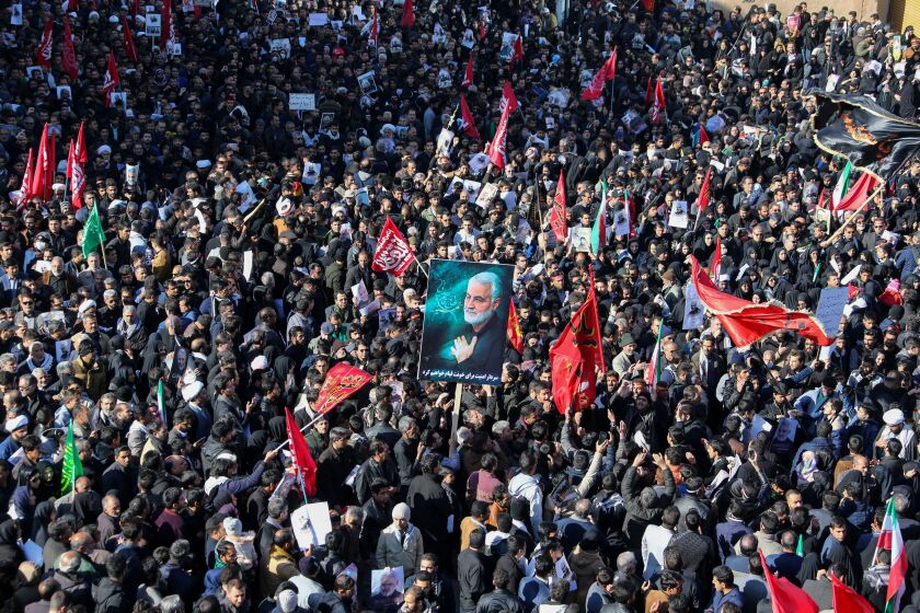 Mourners at a funeral procession for Gen. Qassem Suleimani, who was killed in a U.S. drone attack on Friday.
