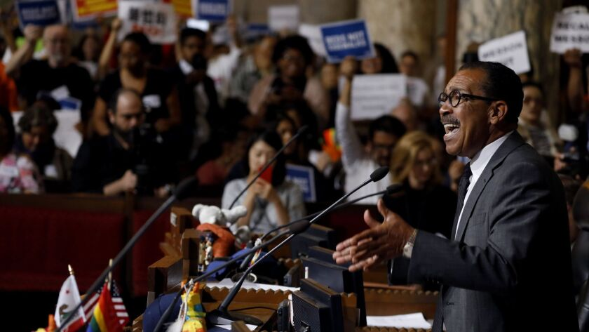 LOS ANGELES, CA JUNE 29, 2018: Los Angeles City Council President Herb J. Wesson speaking passiona