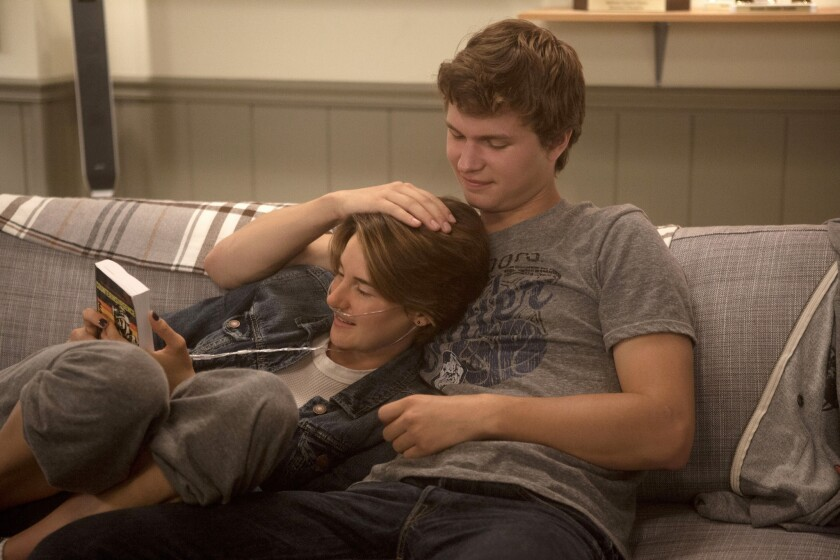 "Hazel (Shailene Woodley) and Gus (Ansel Elgort) in the movie ""The Fault of Our Stars."""