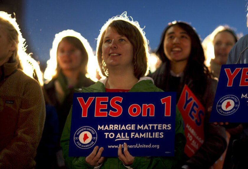Voters OK gay marriage in Maine, Maryland