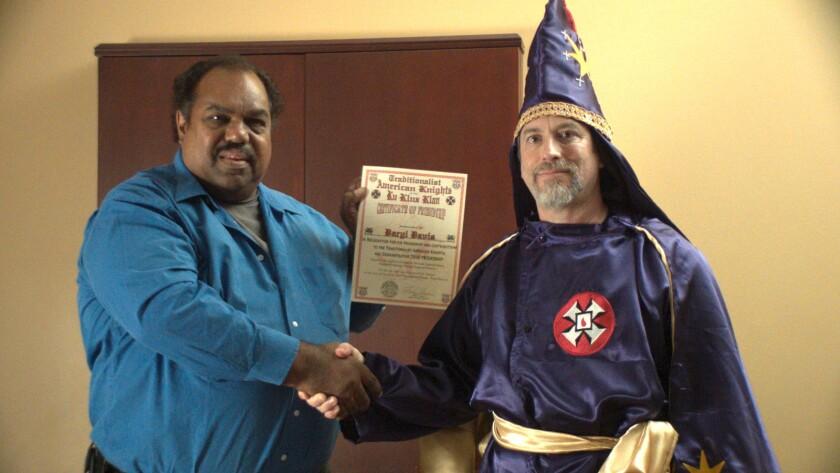 "Daryl Davis and a Ku Klux Klan member in the documentary ""Accidental Courtesy: Daryl Davis, Race & America."""