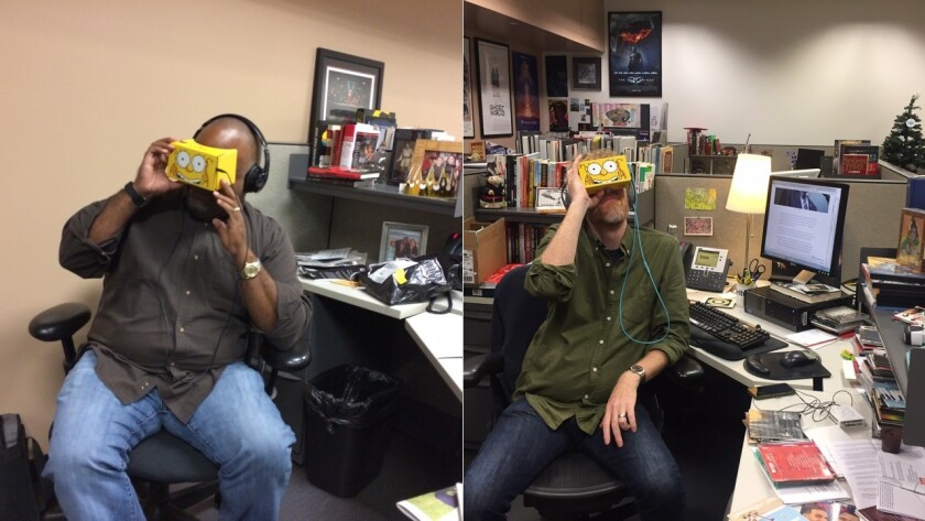 """Marc Bernardin and Chris Barton of the 'Los Angeles Times' try out """"The Simpsons"""" virtual reality couch gag."""