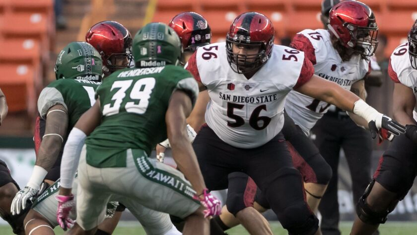 San Diego State true freshman Dominic Gudino (56), who started his second game at center, and his teammates on the offensive line more than held their own against Hwaii, for the first time in three games that they didn't struggle.