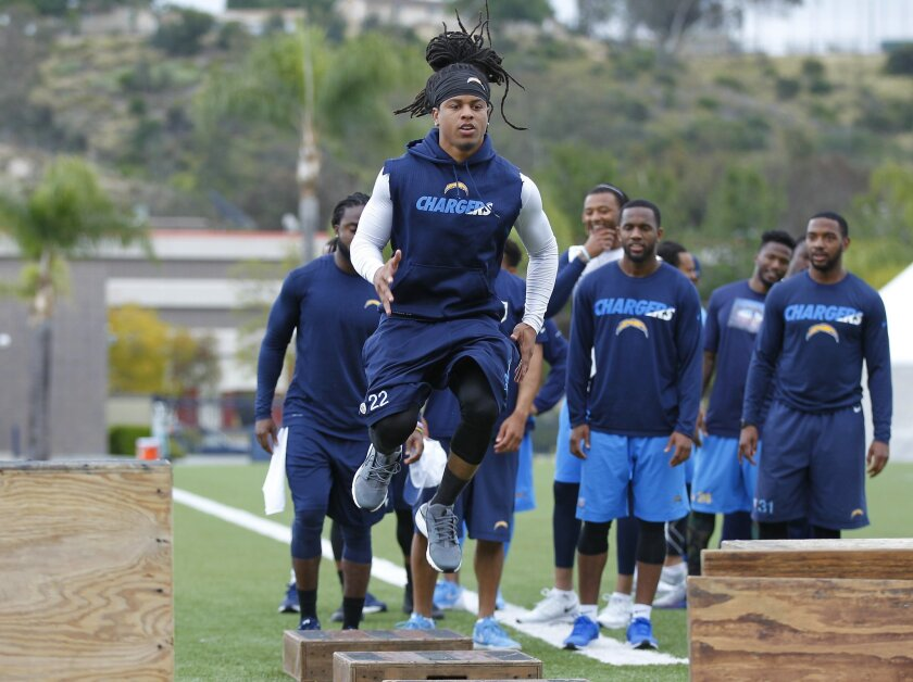 San Diego Chargers cornerback Jason Verrett works out during an offseason practice.