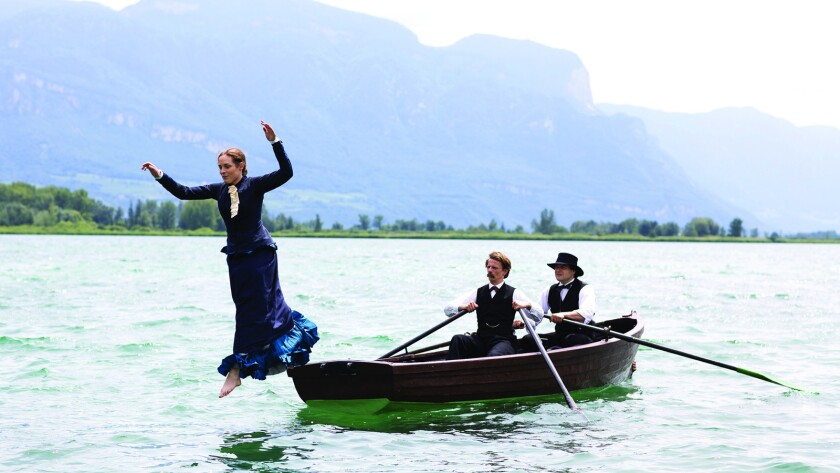 "From left, Katharina Lorenz as Lou Andreas-Salomé, Alexander Scheer as Friedrich Nietzsche and Philipp Hauss as Paul Reé in the movie ""Lou Andreas-Salomé: The Audacity to be Free."""