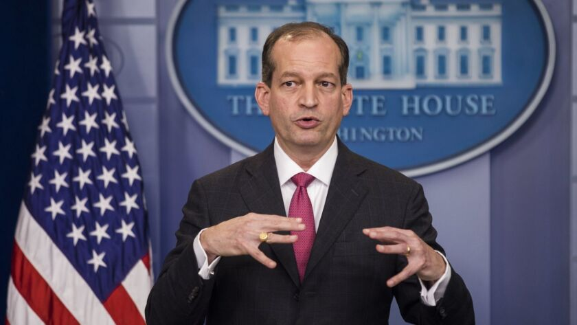 Labor Secretary Alexander Acosta Speaks at White House